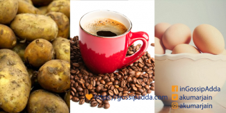 Potatoes, eggs and coffee